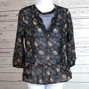 UO Pins and Needles black floral sheer peplum top